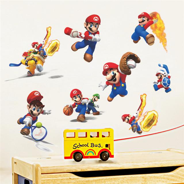 Марио мультфильм стены стикеры для детей номеров играть в баскетбол теннис бейсбол на стены искусство сайт мурал мальчика номер декор подарок