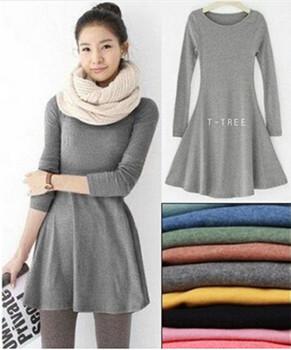 Мода одежда vestidos женщины одеваются 2015 осень зима платья женские 100% хлопка о-образным вырезом с длинными рукавами платье шерстяные платья IF02