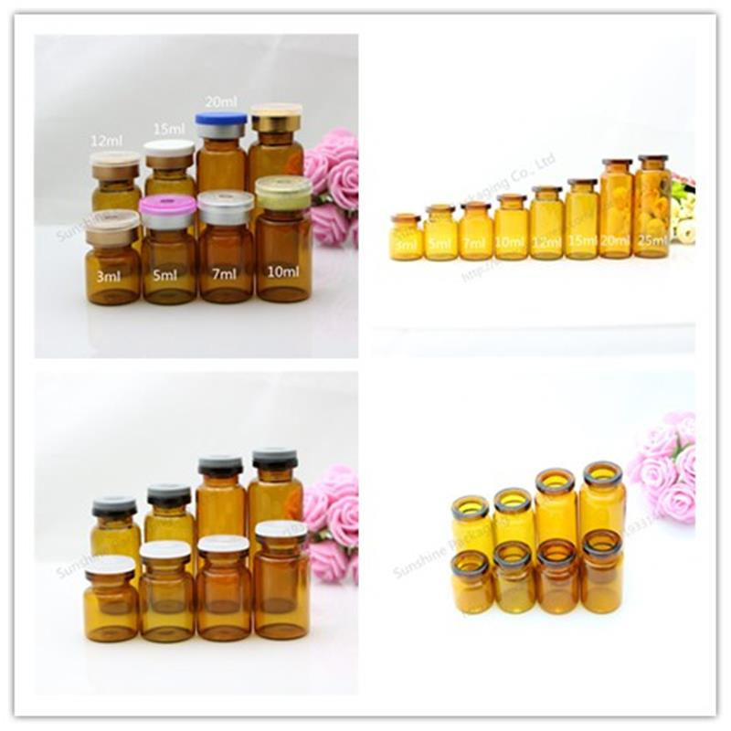 Free Shipping 500X7ml amber glass vials with flip off caps & rubber stoppers, 7 cc injection glass bottle, pharmaceutical bottle()