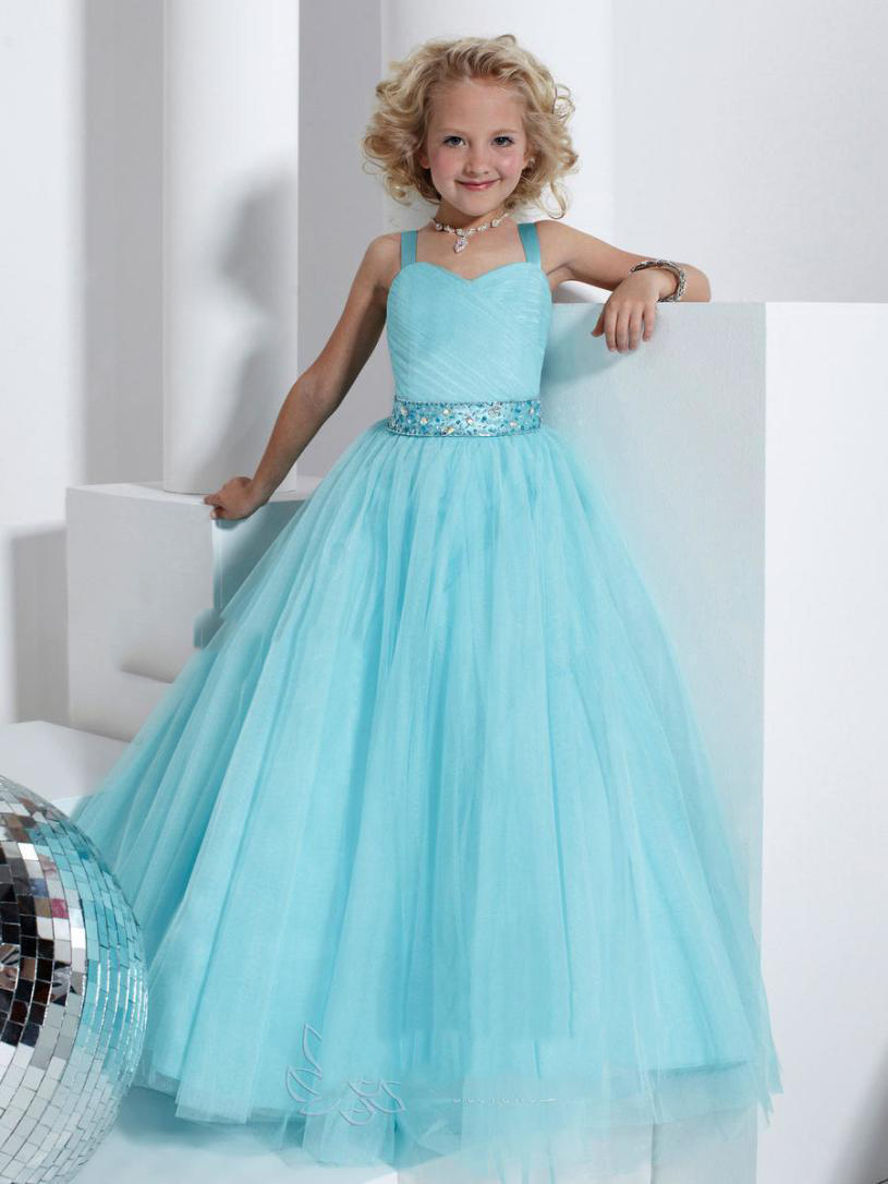 Nf10 blue white real photos flower girl dresses high for Girls dresses for a wedding