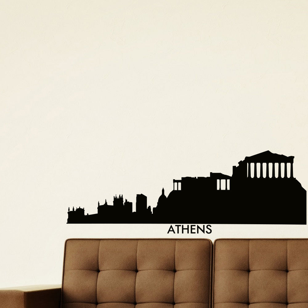 athen skyline wall sticker city skyline building mural singapore skyline wall sticker