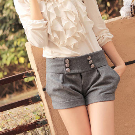 free shipping new 2015 women shorts thick autumn winter casual fashion double button woolen warm LL724(China (Mainland))