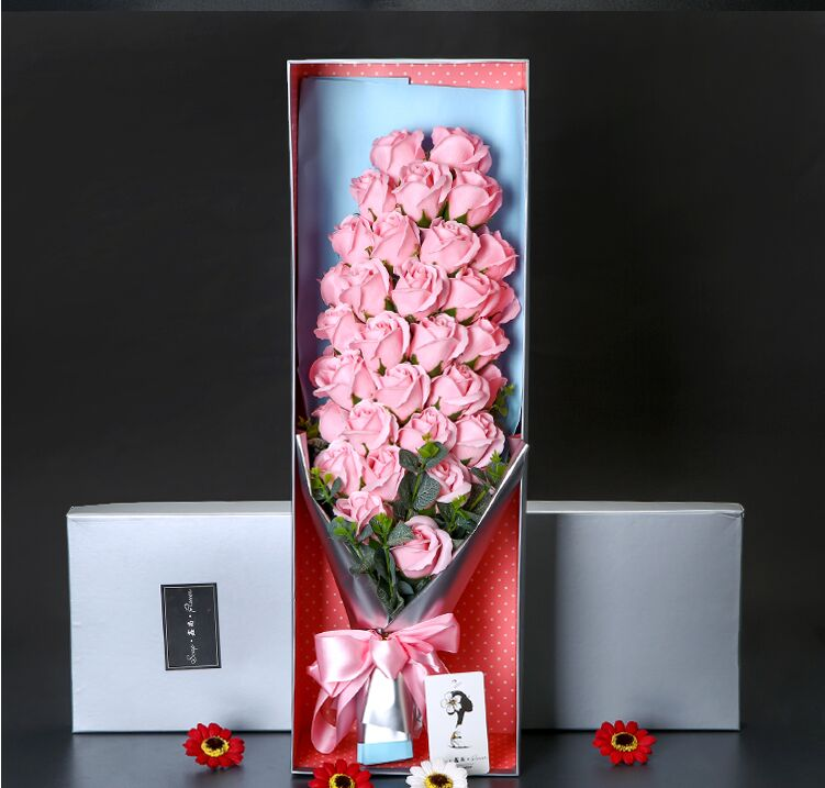 Hot Selling Scented & Simulation Soap Rose Flowers Bouquet For Mother's Day / Valentine's Day / Birthday Gift / Wedding W/ Box(China (Mainland))