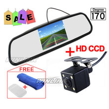 Car Parking Assistance System 4.3 Inch TFT LCD Car Reverse Mirror Rearview Monitor + 4 LED Lights IR Car Rear View Camera(China (Mainland))