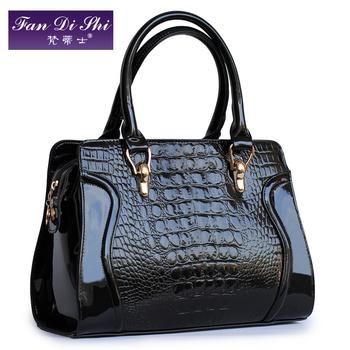 2013 handbag female japanned leather crocodile pattern handbag women's bags smiley cross-body bag