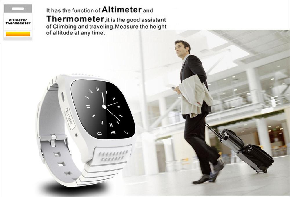 ถูก แฟชั่นสมาร์ทบลูทูธนาฬิกาM26กับจอแสดงผลLED/เลขหมาย/SMSเตือน/เพลง/Pedometerสำหรับโทรศัพท์มือถือโทรศัพท์
