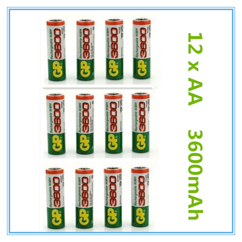 12pcs Brand New 2015 0riginal 4pcs/Lot GP 1.2V NiMh AA 3600 mAh Battery Rechargeable AA Batteries pilas recargables freeshipping(China (Mainland))