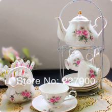Hand-Painted Pink Flower Bone China 15 Piece English Tea Set Tea Service Coffee Cup