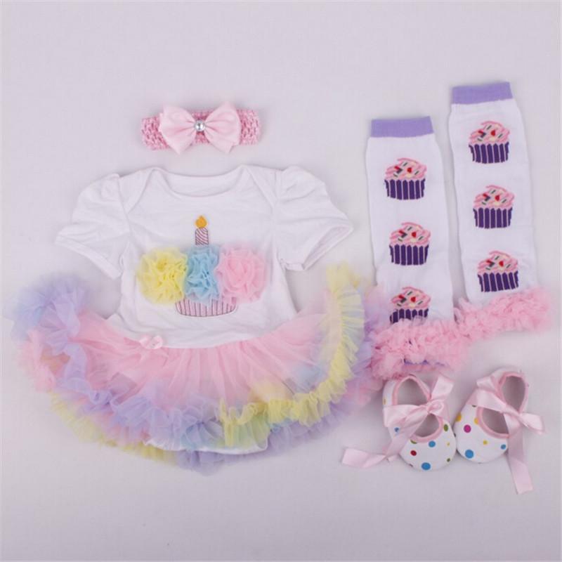 Baby girl clothes Cotton 1 year birthday dress Short Romper Tutu Dress/vestidos+Toddler Shoes+Socks+Headband Baby clothing set(China (Mainland))