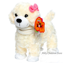 Dogs Toys Electronic Pets Dog Robot Pets Singing Walking with Musical White Pink Brown For Kids Child Gift Christmas Gift(China (Mainland))