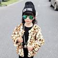 Leopard Girls Fur Jacket Winter European American Style Autumn Long Faux Rabbit Children Coat Fashion Girls