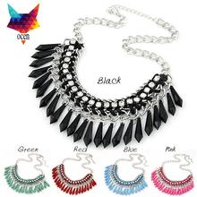 Fashion Temperament Statement Choker Fluorescent Color Gem Crystal Bead Rhinestone Necklaces&Pendants For Women Tassel Jewelry(China (Mainland))