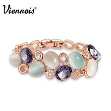 Viennois Brand Rose Gold & Platinum Plated Colorful Opal Stone Bracelet & Bangle New Fashion Jewelry Women Wedding Bracelet(China (Mainland))