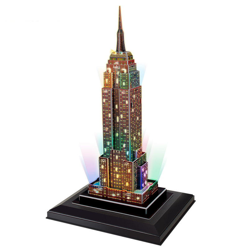 cubicfun 3d puzzle empire state building mit led beleuchtung lampe bildungs diy spielzeug modell. Black Bedroom Furniture Sets. Home Design Ideas