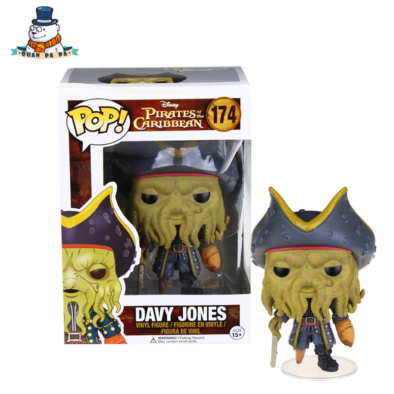 [QuanPaPa] Genuine Original FunKo POP Pirates of the Caribbean DAVY JONES 174 Model Action Figure doll car Decoration kids toys(China (Mainland))