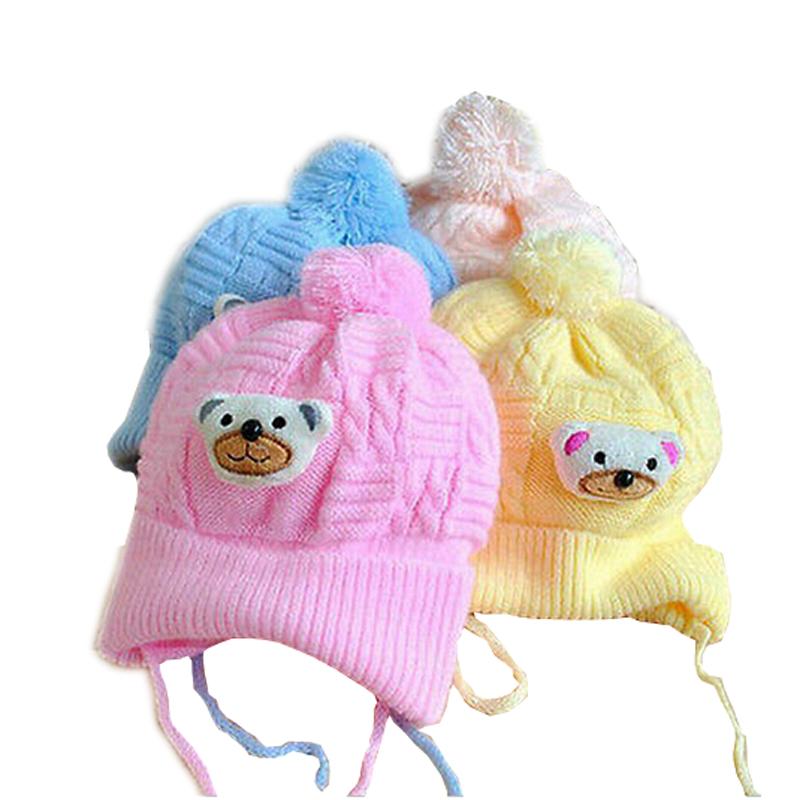 1 PCS Baby hat Boy Girl Infant Toddler Cute Soft Crochet Bear Hat Warm Newborn Cap Baby Photography prop Crochet baby Hat(China (Mainland))