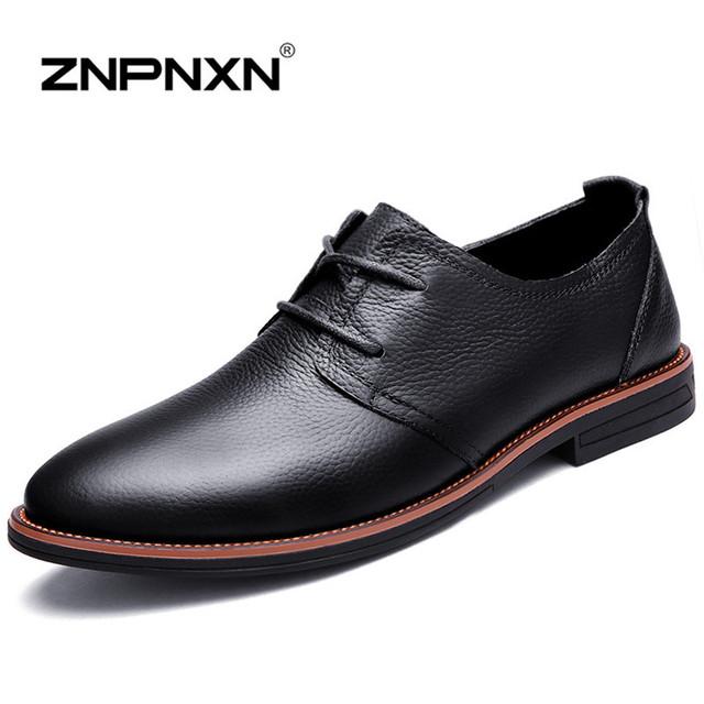 Znpnxn мужчины квартиры натуральная кожа ботинки люксовый бренд острым носом оксфорд ...