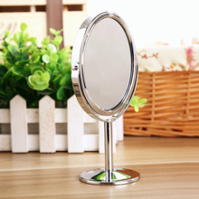 Oval Table Type Double-sided Rotatable Mirror Magnifying Beauty Cosmetic Makeup Mirror - Silver(China (Mainland))
