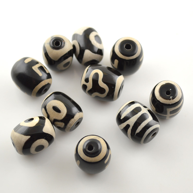 High Quality Tibetan Dzi Bead Black Agate With White Veins Barrel Shape Onyx Spacer Beads Buddhism Jewelry Making 20pc/lot <br><br>Aliexpress
