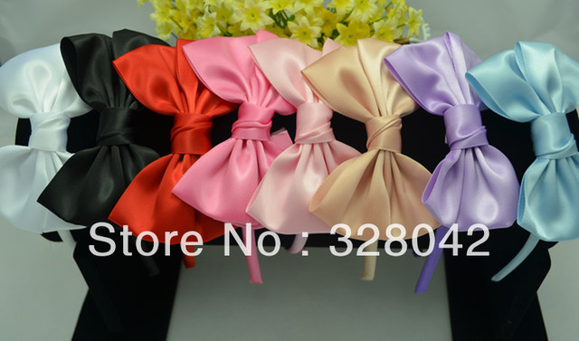 Trail order satin covered satin bows headwear children&adult mix colors bows headbands Free Shipping  hair accessory30 pcs/lot