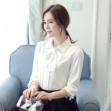 Buy New Women Casual Autumn Winter Basic Chiffon Blouse OL bowknot Top Shirt blusas bandage Full sleeves Work Wear Plus Size for $14.63 in AliExpress store