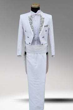 Мужские платье костюм двубортная приталенный подходящие мужские смокинг белый черный свадьба костюмы жених мужчины белый ну вечеринку одежда