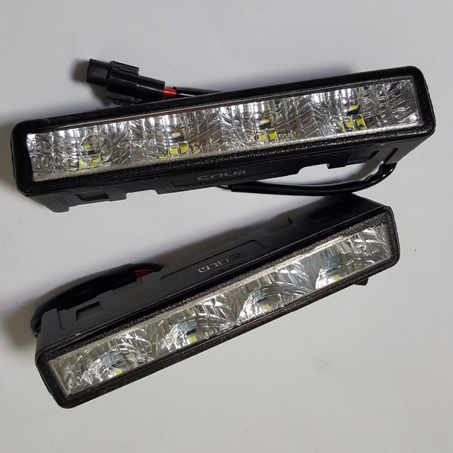 Fast High quality 2 pcs auto drl Daytime Running Light front daylight 4 LED fog lamps Cree waterproof dimmer turning E4 R87 RL00