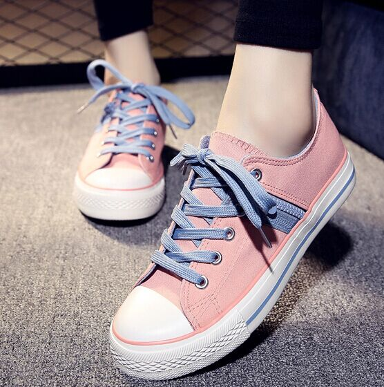Free Shipping Women Canvas Shoes Fashion Sneakers Patchwork Candy-colored Casual Shoes Lace-up Canvas Outdoor Shoes Size35-39<br><br>Aliexpress