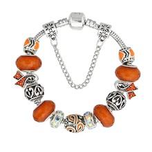 KEORMA pulseras antiguas de plata para mujeres cuentas de cristal de Murano para el cáncer de mama(China)