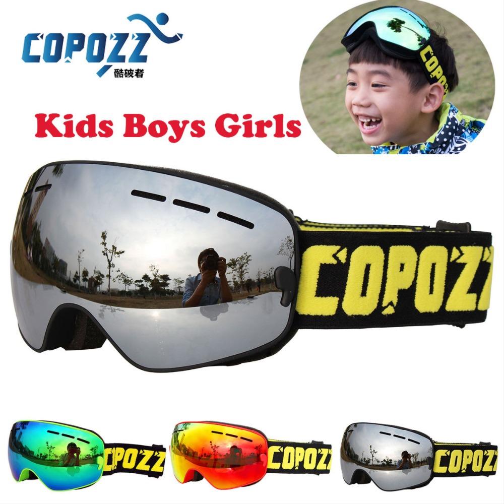 COPOZZ Boys Girls Snowboard goggles Kids Ski Goggles Double UV400 anti-fog mask glasses skiing 4-15 Years Old(China (Mainland))