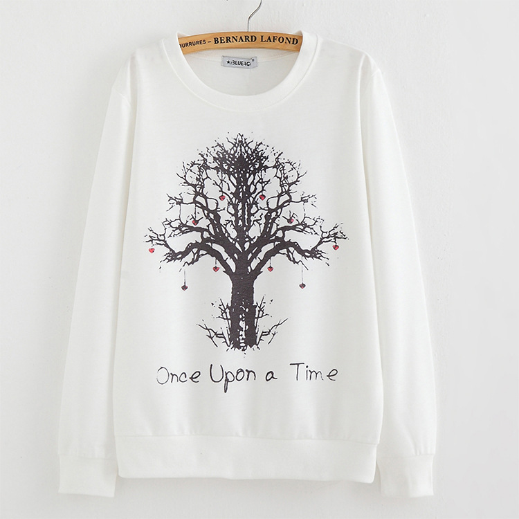 2015 New winter Hoody women Casual hoodies Strawberry tree print thin inside long sleeve o neck letters sweatshirt for women