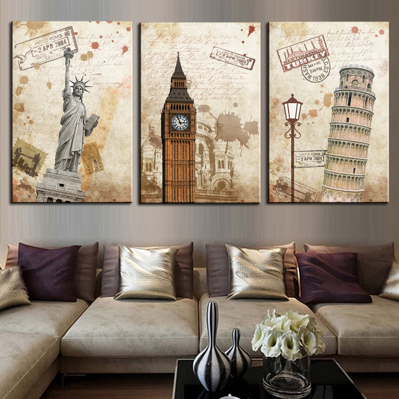 3 pieces the city landscape hd modern wall art home decor for Modern home decor pieces