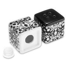 2pcs/pack Ceramic Cube Salt Pepper Shaker White Black Gift Box(China (Mainland))
