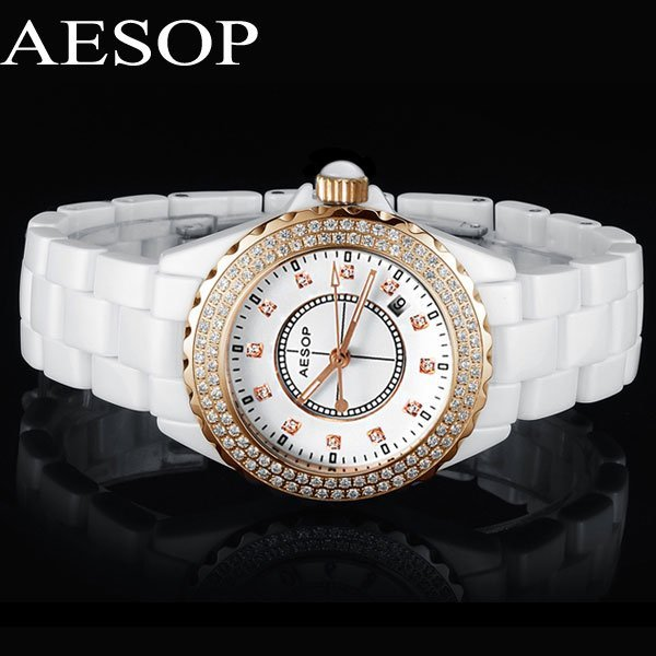 Classical AESOP Ceramic CZ Diamond Women Dress Rhinestone Watches Date Day Display Steel Case Feminino Fashion Quartz Watch 9906