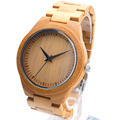 BOBO BIRD Brand Design Quartz Wood Watch Men Luxury Natural Wooden Watches Maple Sandalwood Dial Calendar