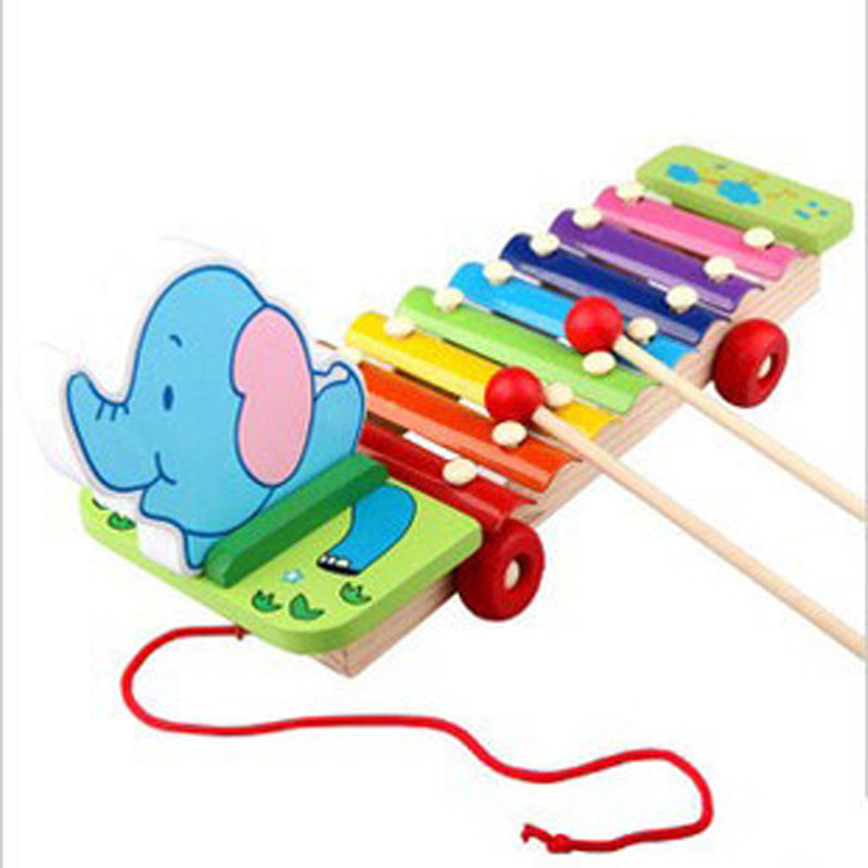 Fancy Drag Elephants Piano Musical Toys Wooden Knocking Serinette Colored 8 Sound Zithern Babies Early Childhood Education Toy(China (Mainland))