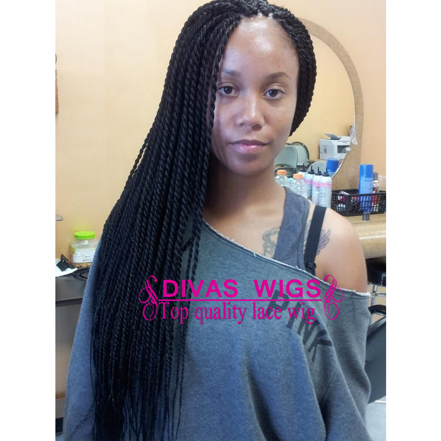 Cheap Sale Braided Lace Front Wigs Synthetic Wigs Thick Full Hand Braided Synthetic Hair Micro Braided Wigs In Stock<br>