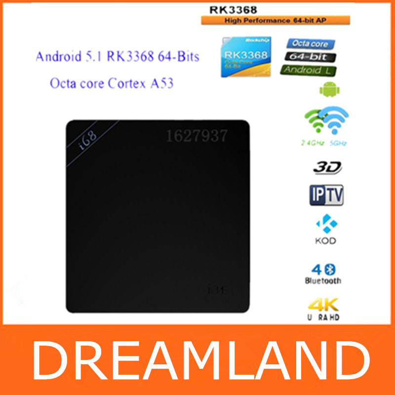Original i68 Android 5.1 TV Box RK3368 Octa Core 64Bit Cortex A53 2GB/8GB 2.4G/5GHz Dual Wifi HDMI2.0 Gigabit Lan KODI 4K