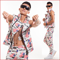 S 6XL New men s cultivate one s morality fashion leather vest suit jacket stage costumes