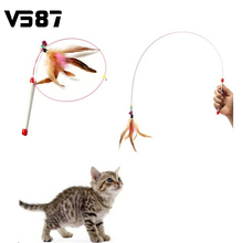 Wholesale Random Colored Feathers Funny Cats Wire Rods Flying Bell Favorite Cats Toy For Pet Products(China (Mainland))
