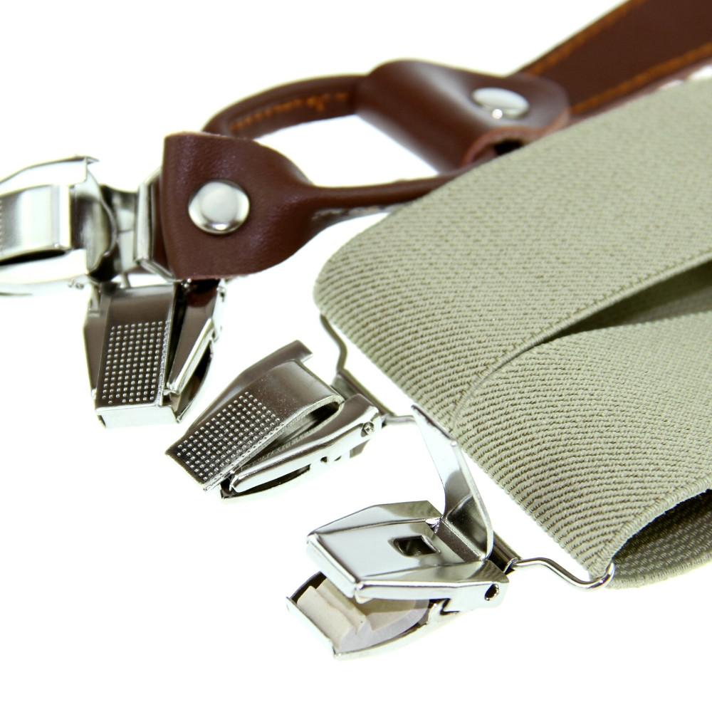 Новый мужской подтяжки брекеты мужская регулируемая металл Clip - на твердых бежевых-xl BD601