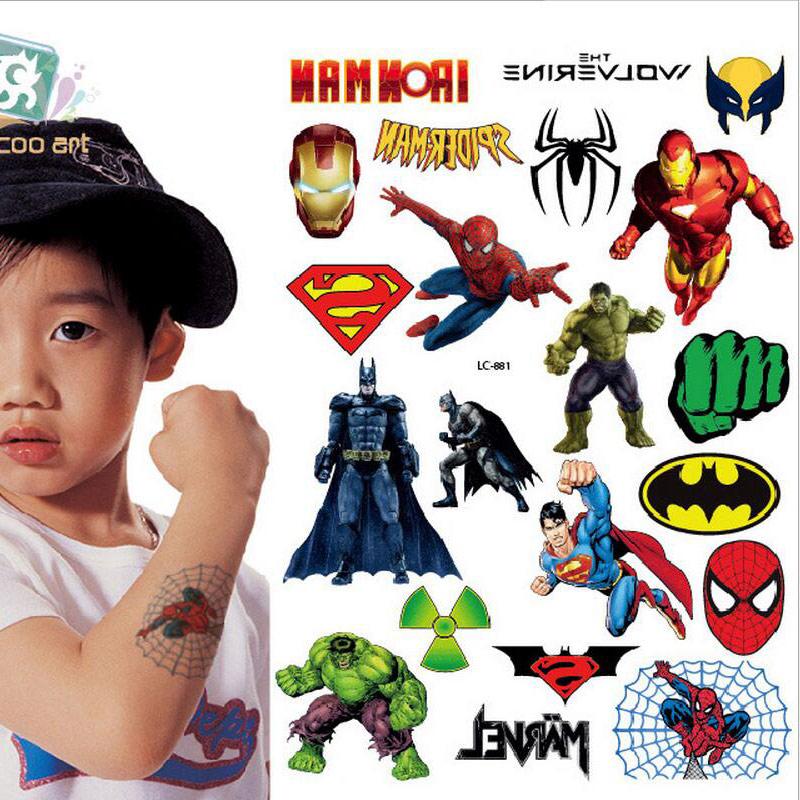LC-881 /Hot 2016 Children's Temporary Body Art Tattoos Fake Batman Spider/Hulk/ Superman Cartoon Tattoo Sticker For Kids(China (Mainland))