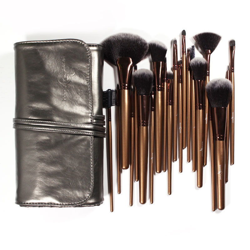 21 Pieces Professional Makeup Brush Sets Black Golden Synthetic Hair Ultra-fine with Silver gray Leather Bag(China (Mainland))