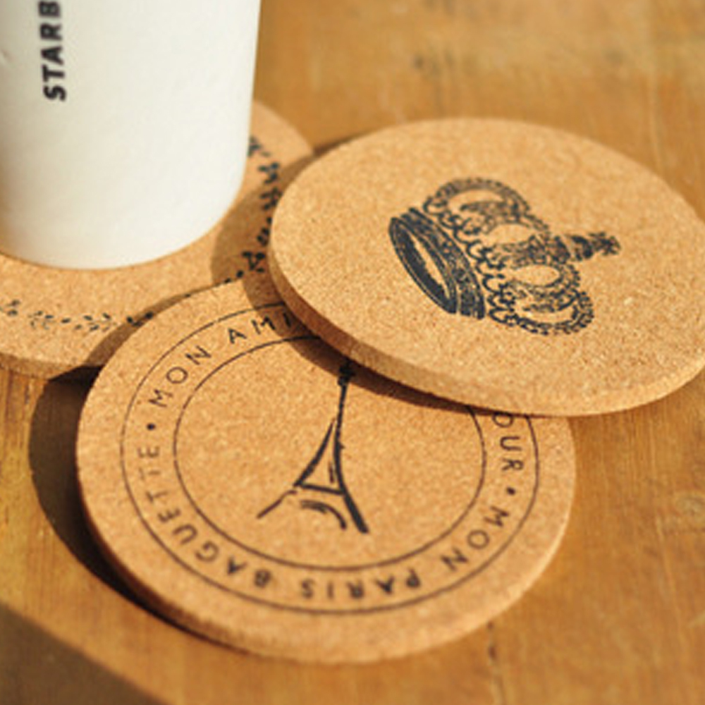 M Size Pure Wood 8pcs Cork Drink Cup Coaster Tea Coffee