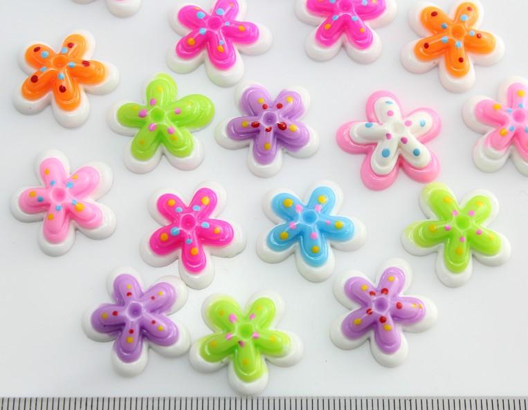 250pcs mixed lovely Dots Sunflowers Cabochons (20mm) Cell phone decor, hair accessory supply, embellishment, DIY random mix(China (Mainland))