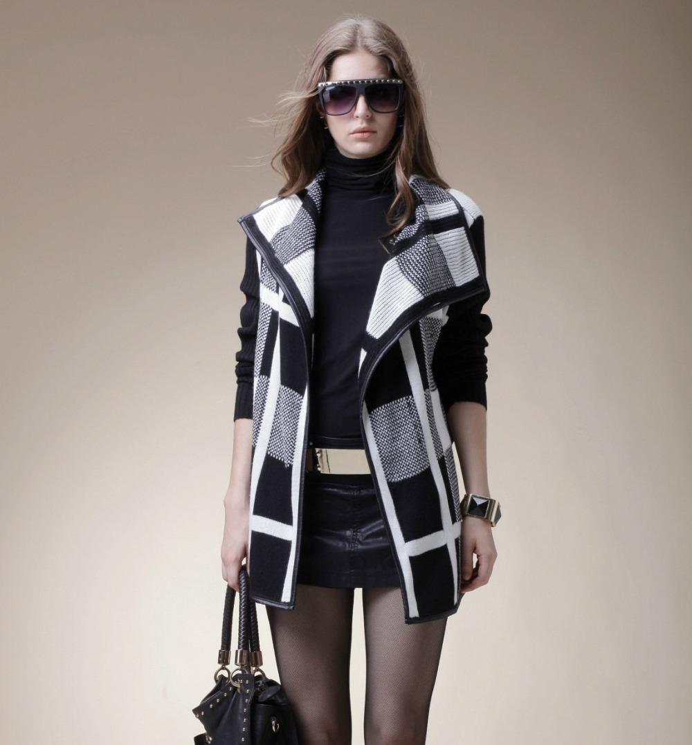 New knitted cardign sweater women Plaid cardigan sweater slim type thick sweater brand free shipping S216(China (Mainland))