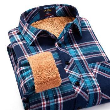 Осень и зимняя одежда с рукавами мужской такси толстый бархат теплая клетчатую рубашку