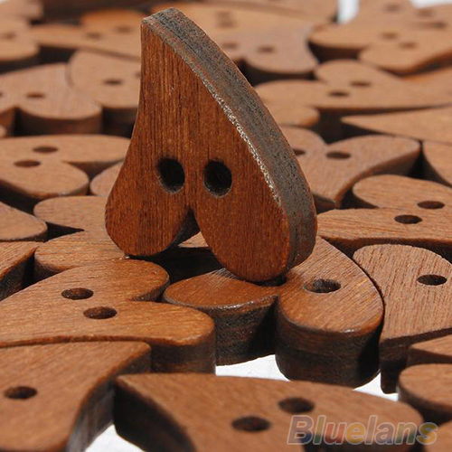 Гаджет  100 PCS Brown Wood Wooden  Heart Shape Button Craft Scrapbooking 20mm 02UL None Дом и Сад