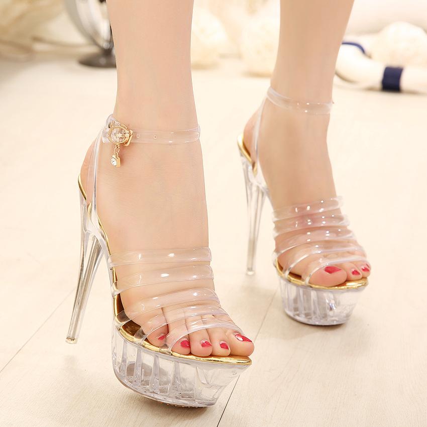 Гаджет  2015 Sapatos Womens Shoes European Station, New Style Fashion Princess Transparent Crystal Waterproof Platform With High Heels  None Обувь