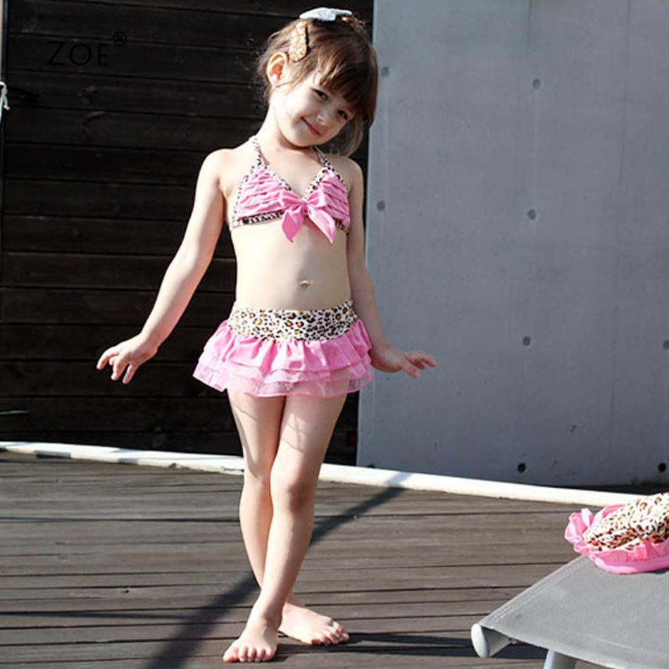 Милый маленькая девочка леопардовый кружево бикини купальник дети купальный костюм бант малыша купальный костюм Biquini Infantils для девочки-младенцы